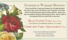 Sponsoring Flowers for Worship has Returned