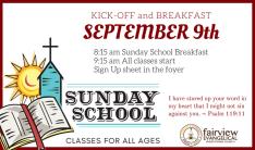 Sunday School Kick-Off and Breakfast - Sep 9 2018 8:15 AM