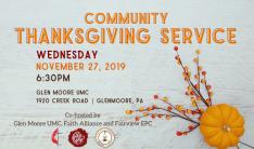 Community Thanksgiving Service - Nov 27 2019 6:30 PM